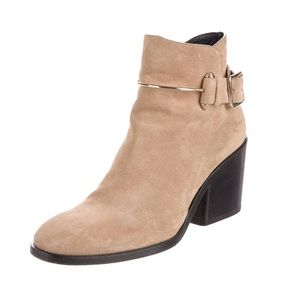 Balenciaga Suede Chunky-Heel Ankle Boots in Camel